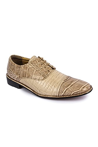 Crocodile/Lizard Print Oxford Hand-Picked PU Leather Stitched Lace up Dress Shoes Exclusive Collection (Beige Lizard)