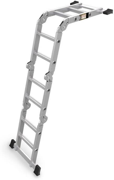 Aluminium Mehrzweckleiter mit Arbeitsplattform Klappleiter Gelenkleiter Anlegeleiter HB-4X2