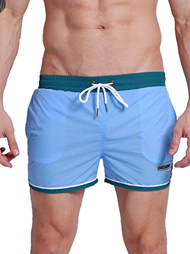 Neleus Men's Swimming Shorts with Elastic Waist,803,Sky Blue,USA S+,Tag L