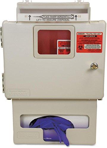 Covidien Locking Wall Mount Sharps Cabinet W/Glove Box Holder, 5 Qt, 13 X 5 X 18.5, Beige