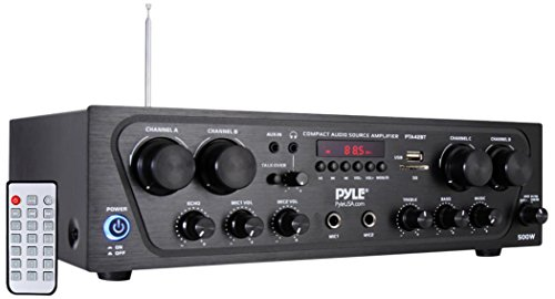 - Pyle Wireless Karaoke Bluetooth Stereo Receiver - 4 Channel Power Amplifier w/ USB, Headphone, 2 Microphone Input w/ Echo, Talkover for PA Great for Home Speaker System - PTA42BT