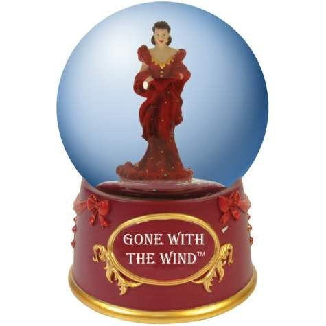 Gone with the Wind Water Globe with Red Dress Scarlet O'Hara Figurine by WL