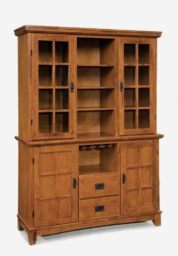 Dining Mission Hutch - Home Style 5180-697 Arts and Crafts Buffet and Hutch, Cottage Oak Finish