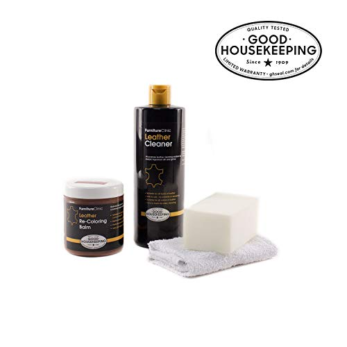 Furniture Clinic Leather Easy Restoration Kit | Set Includes Leather Recoloring Balm & Leather Cleaner, Sponge & Cloth | Restore & Repair Your Sofas, Car Seats & Other Leather Furniture (Black)