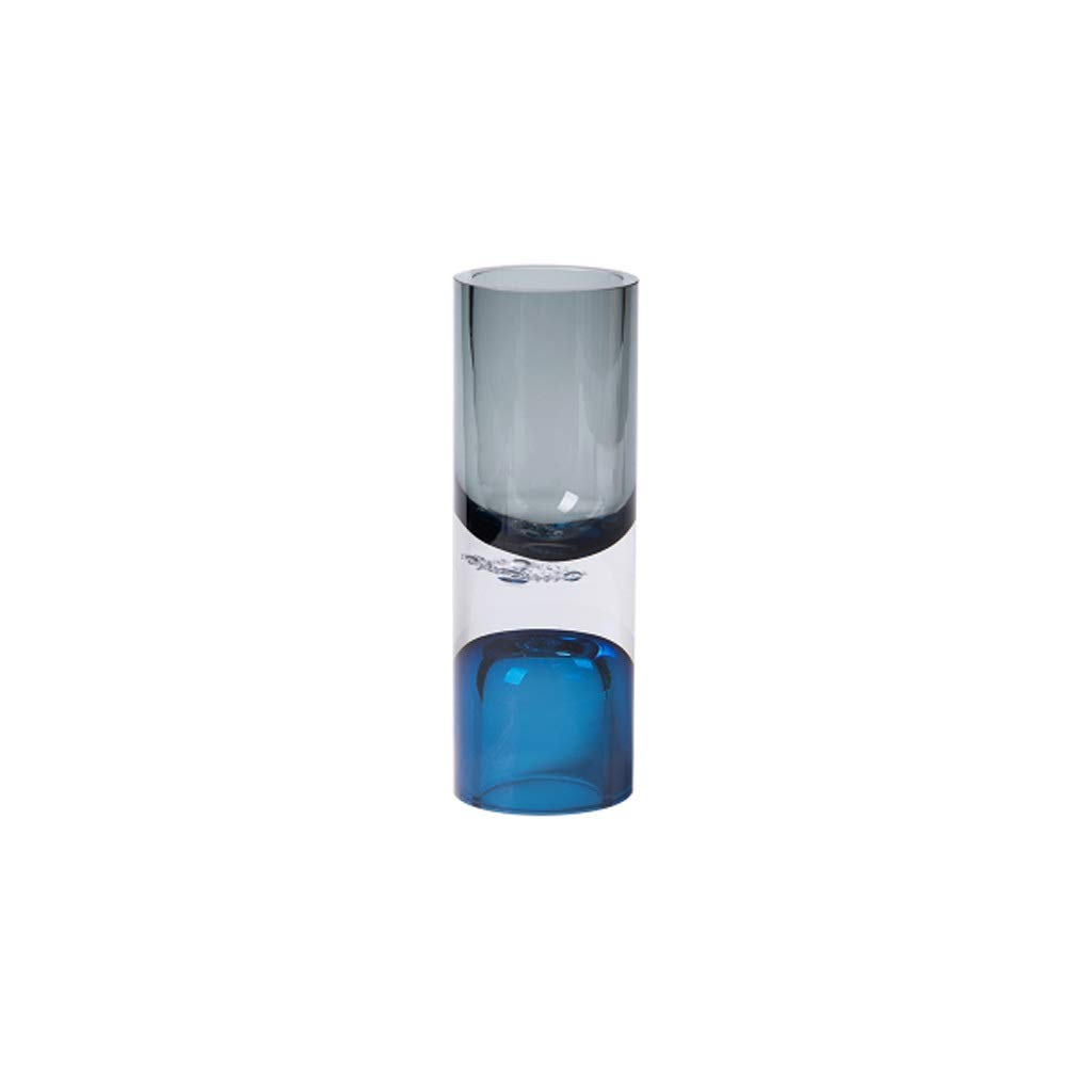 円筒形ガラス花瓶クリエイティブリビングルームガラスフラワーアレンジメントコンテナグレー/ブルー JSFQ (サイズ さいず : 7cm×20cm) B07R28LKN9  7cm×20cm