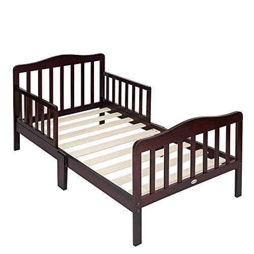 Beds Cherry Boys - Bonnlo Contemporary Wooden Toddler Bed Sturdy Bedframe with Guard Rail Bedroom Furniture for Kids Children - Cherry