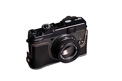 富士フイルム X20用本革カメラケース(電池,SDカード交換可) ブラック B07TBM8RJC カメラケース&ストラップTP1881&バッテリーケース FreeSize