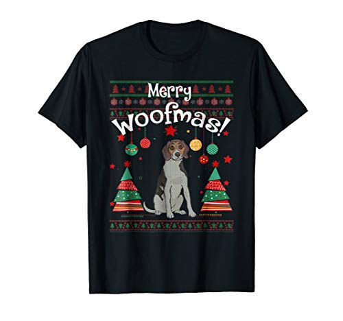 (Treeing Walker Coonhound Merry Woofmas Ugly Christmas Shirt)