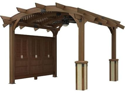 12' x 12' Sonoma Arched Wood Pergola with Lattice Roof & Privacy Wall - - Amazon.com: 12' X 12' Sonoma Arched Wood Pergola With Lattice Roof
