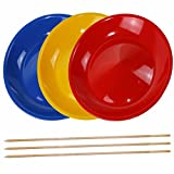 SchwabMarken 3 Spinning Plates / Juggling Plates with Wooden Sticks, Mixed Colors, Robust with Curved Base