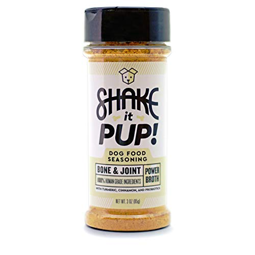 Shake it Pup! Dog Food Seasoning Topper - Bone & Joint Supplement Support Powder Gravy for Dogs Kibble - Chicken Bone Broth, Turmeric, Probiotics - 100% Human-Grade & Grain-Free