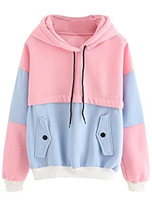 SweatyRocks Sweatshirt Women Colorblock Pullover Fleece Hoodie