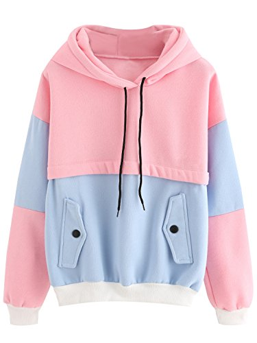 SweatyRocks Sweatshirt Women Colorblock Pullover Fleece Hoodie (Small, Multicolor#1-Loose)