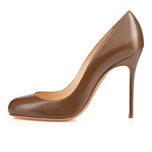 Arc-en-ciel zapatos de mujer punta redonda tacón alto Marrón