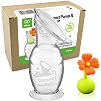 Haakaa Manual Breast Pump with Suction Base Milk Saver | for Breastfeeding | with Leak-Proof Stopper Gift Box (Orange…
