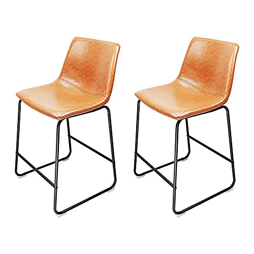 South Pioneer Set of 2 Brown Rustic Leather Dinning Chair Bar Stool on a Black Frame Price is for 2 stools Bar Stool Welded