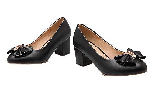 Odomolor Women's Pull-on Kitten-Heels PU Solid Round-Toe Pumps-Shoes Black DJr24l0hqV
