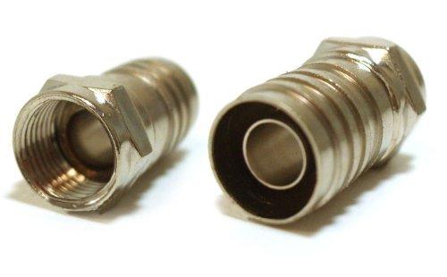 Single-Piece Construction Coax F-Type Plug Crimp-On RG6 Long Barrel Quad (Barrel Quad)