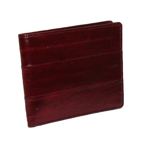 MJ Masters Mens Eel Skin Trifold Wallet, Burgundy