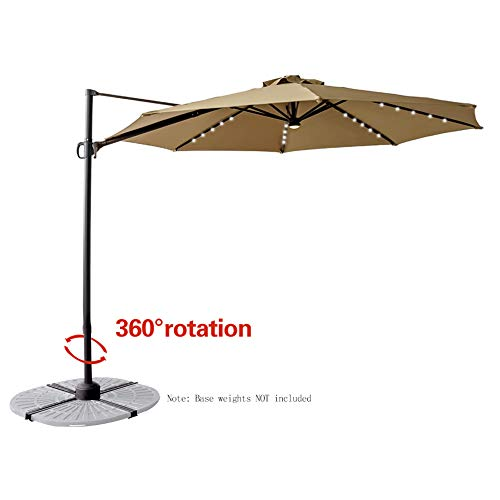 FLAME&SHADE 10' Outdoor Offset Hanging Cantilever Market Umbrella with Solar LED Lights and Tilting for Balcony Patio Table or Deck, Beige