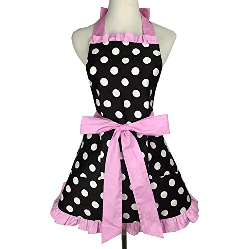 F-OXMY Womens Cute Retro Lacy Polka Dot Aprons with Pockets - Vintage Lovely Lady's Flirty Kitchen Cooking Aprons (50s Aprons For Women)
