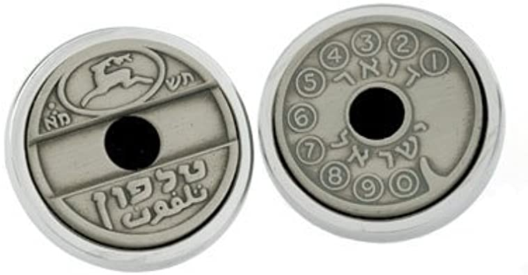 Gift for Him Sterling Silver Cuff Links Israeli Asimon Cufflinks Vintage Phone Token Cufflinks Israeli Jewelry Men/'s Jewelry