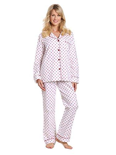 Women's Cotton Flannel Pajama Sleepwear Set - Dots Diva White-Red - Medium