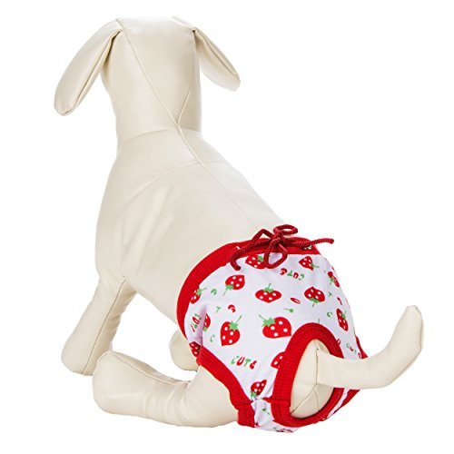 CUE CUE Pet Reusable Chic Strawberry Print Sanitary Undergarment [Large 12-14.5in Waist] for Proestrus (in-heat) Dog's -