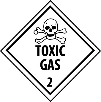 NMC DL133AL 4'' x 4'' Dot Shipping Label - ''Toxic Gas 2'', PS Paper, 5 Rolls of 500 pcs by National Marker