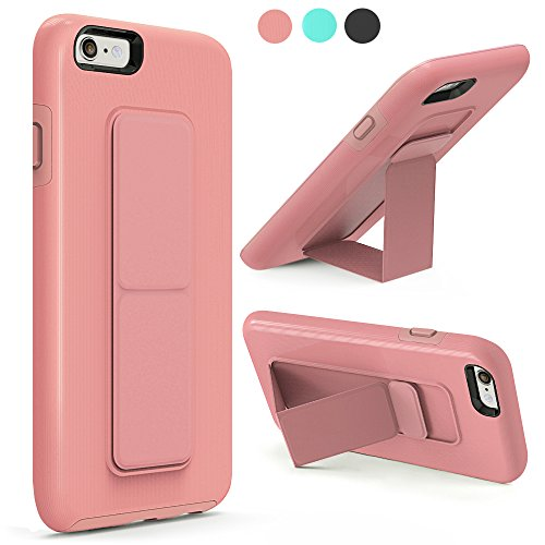iPhone 6S Case, iPhone 6 Case, iPhone 6 Case with Stand, ZVEdeng Shockproof Magnetic Foldable Kickstand Hand Strap Dual Layer Case Anti Drop Finger Strap Cover for Apple iPhone 6 / 6s Rose Gold