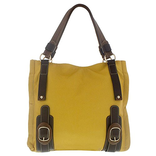 Melie Bianco Eden Double Bottom Buckle Tote (Yellow) (Melie Bianco Handbag Tote)