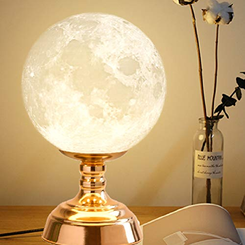 8.9 Inch Moon lamp, Moon Desk lamp, Moon Table lamp,Moon Reading lamp with 9W E27 LED Bulb1 Yellow Bulb and 1 White Bulb