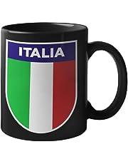 6TN Italien mugg – retro italiensk flagga design – svart mugg