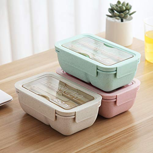 Gotian Microwave Lunch Box Picnic Food Fruit Container Storage Box - Lunch Box for Kids or Adults - Food Container - Carry Delicious Food to Office, School (Green) ()