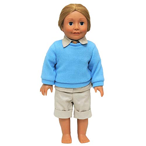 18 Inch Doll Gombe National Park Rainforest 18 Inch Doll Camp Outfit Inspired By Dr. Jane Goodall. Includes Khaki Shorts, Khaki Blouse,Blue Knit Sweater. Fits American Girl Doll Clothes & Accessories