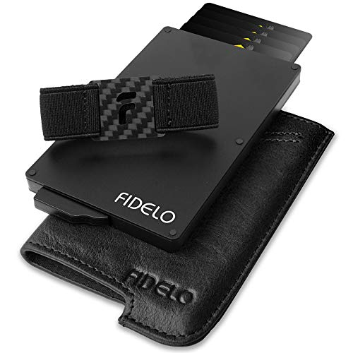 FIDELO Minimalist Wallet for Men - Slim Credit Card Holder RFID Mens Wallets with Leather Case (Black Vegetable Tanned Leather)