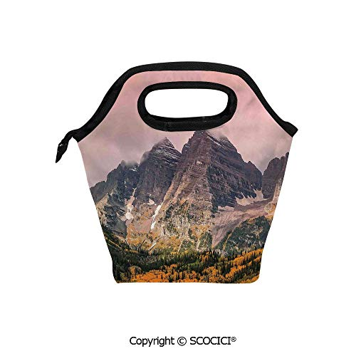 Lightweight Portable Picnic tote lunch Bags Idyllic Mountain