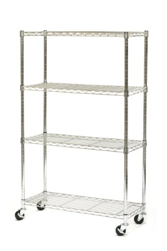 Seville Classics 4 Shelf, 14-Inch by 36-Inch by 54-Inch Shelving System with Wheels, NSF by Seville Classics