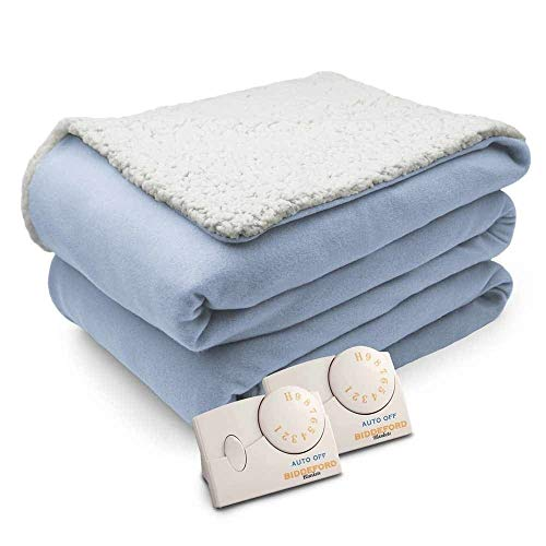 Overstock Biddeford Comfort Knit Natural Sherpa Electric Heated Blanket Queen Parade Blue (Ll Bean Electric Blanket)