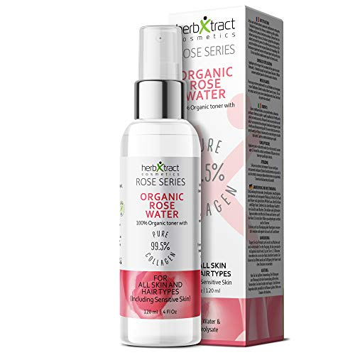 (Organic Rose Water Toner + Collagen - 100% Pure Natural Bulgarian Rosewater Hydrosol Face Spray No additives 4 fl oz)