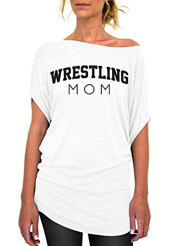 Wrestling Mom Standard Slouchy Tee - Medium White Black Ink by Dentz Design