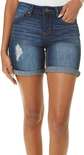 Indigo Rein Juniors Distressed Roll Cuff Denim Shorts 7 Medium wash ()