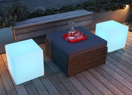 Outdoor / Indoor Waterproof Rechargeable Patio Floating LED Light Seat, Cordless with RGB Colorful Changing Remote Control (Cube 12'') by Yeesn
