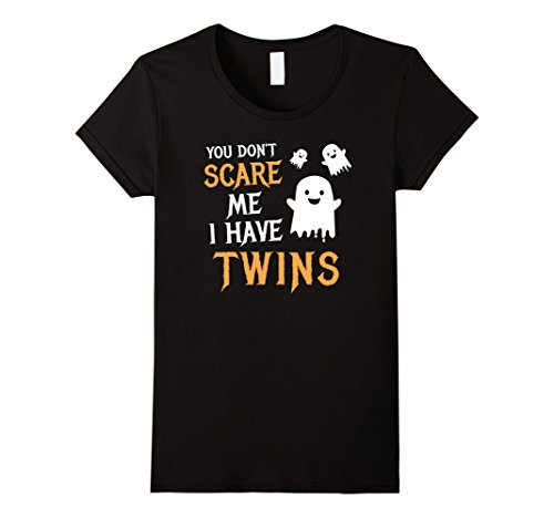 [Womens You Don't Scare Me I Have Twins Halloween Shirt Gift Medium Black] (Twin Costumes Halloween)