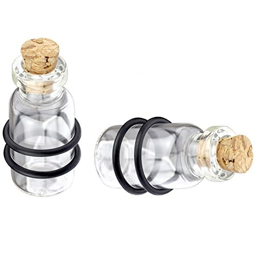 (Pair of Unique Cork and Bottle Ear Plugs Clear Gauges (1/2 Inch (12mm)))