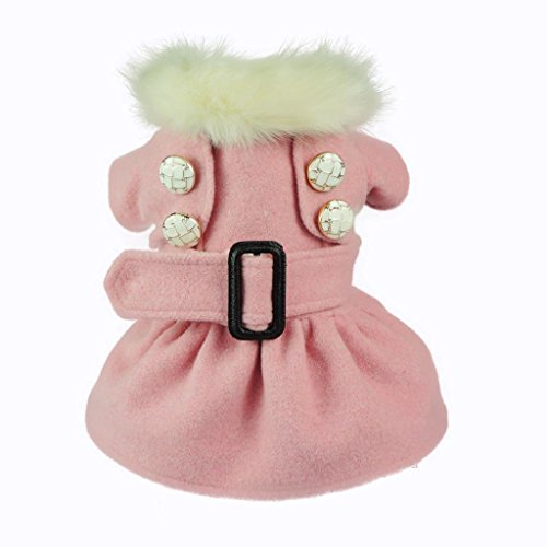Fitwarm Noble Pink Woolen Pet Clothes for Dog Jackets Coat Dress