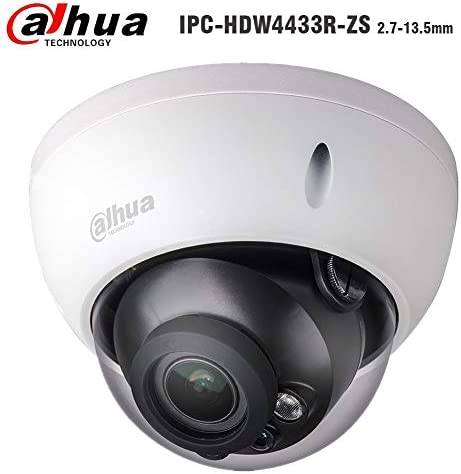 Dahua 4MP Dome IP Camera , PoE Camera IPC-HDBW4433R-ZS 2.7-13.5mm Motorized Varifocal Lens 5X Optical Zoom Security IP Camera, 50m IR Night Vision Outdoor Surveillance Camera H.265, ONVIF, IK10, IP67