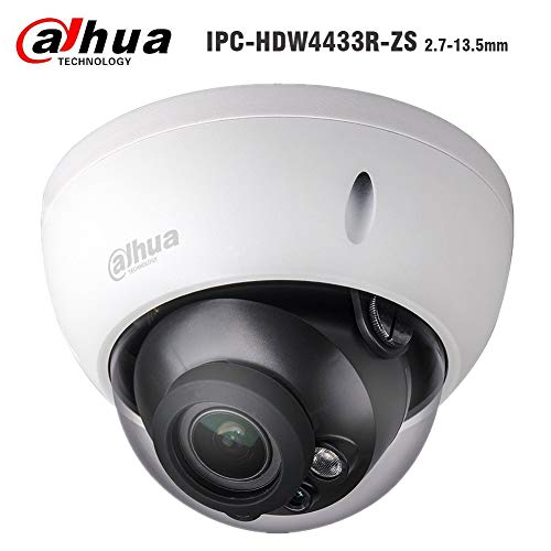 Dahua 4MP Dome IP Camera , PoE Camera IPC-HDBW4433R-ZS 2.7-13.5mm Motorized Varifocal Lens 5X Optical Zoom Security IP Camera, 50m IR Night Vision Outdoor Surveillance Camera H.265, ONVIF, IK10, IP67