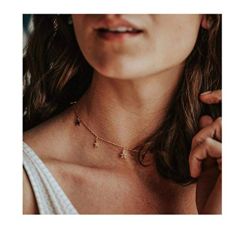 S.J JEWELRY Womens Handmade 14K Gold Filled/Rose Gold/Silver Freshwater Pearls Simple Delicate Full Moon Ball Pendant and Star Chokers Necklace-Rose Star
