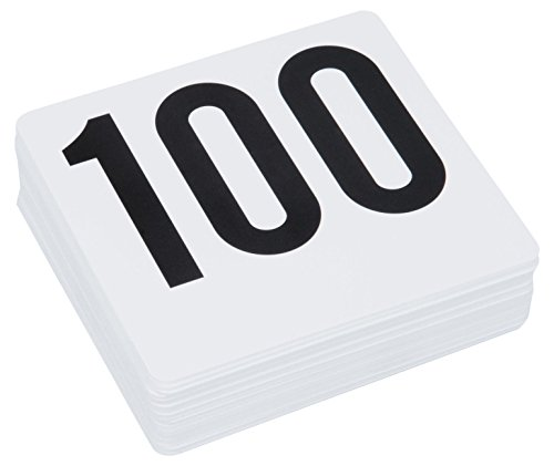 ROY TN 1 100 -Royal Industries Number 1-100 Plastic Number Card Set, Plastic, 4'' by 4'', White Base with Black Numbers from Royal Industries